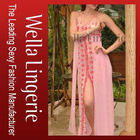Sexy Embroidered Long Gown - Pinkish Sleep Wear Lingerie