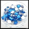 Acrylic Epoxy Resin Bead For Apparel Decoration Dark Blue Diamond Plated Button 13x16mm 24060