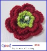 "Crochet 3"" Flower Dark red &green color wool with pipe beads & plastic pearl handmade"