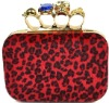 Free Shipping] LADY'S CLUTCH PURSE EVENING BAG skull handbag Four FINGERS Rings Bag with Shoulder punk wallet EB091