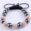 fashion Rhinestone 10mm(5pss) Crystal Beads Macrame shamballa Bracelet