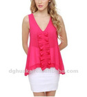 clothing factory summer a-line ruffles top new design blouse chiffon women tank top