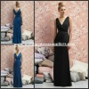 BMD151 Elegant Black V-Neck Ruffles Slim Floor-Length Cheap Bridesmaid Dress