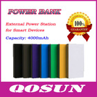 4000mAh portable mobile power bank for Smart Devices
