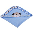 Catasy pure cotton 80*80cm two layers towelling with puppy footprint printing&embroidered dog pattern baby towel with hood