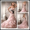 MJ10205 Luxury Pink Organza Black Ribbon Unique Sexy Mermaid wedding gown 2012