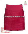 girls top fashion color rose tight fit mini layered skirts