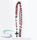 red wooden rosary