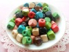 Fashion 10*10mm Square Wooden beads with colorful