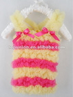 yellow /hot pink stripes petti tops