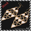 Fashion Golden Movable Black White Triangle Hook Dangle Earring AS0260