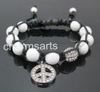 Wholesale Shamballa Bracelets 10mm Howlite Crystal Charm Handmade Waxed Rope NA451