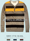Mens winter stripe sweater in cotton fabric of contrast color for 13AW