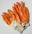 Orange Nitrile Coated Gloves with 100% cotton interlock line
