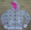 girl's knitted printing hoody jacket