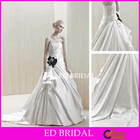 A Line Strapless Straight Across Court Train Taffeta Embroidery Beading Ruffled Pleated Black Flower Wedding Dress