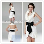 Sleeveless halter with balck sash white cocktail dress hy336