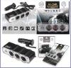 12V Black 3 Triple Socket USB Car Cigarette Charger
