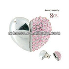 8GB Crystal Heart USB Flash Drive (Pink)