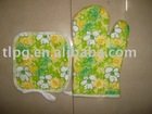 printed oven mitten,apron set, double oven mitten
