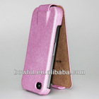 BHH-IPH022 for iphone 4 pink flip case ,in real leather