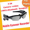Free Shipping CAMERA+VIDEO+MP3+BLUETOOTH SUNGLASS 1.3MAGE RECORDING SPEED 30FPS BLACK