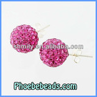 Wholesale Hot Rose Shamballa Crystal Sterling Silver Earrings Pave Sparkling Rhinestone Stamped 925 Logo Stud Earring SSCE004