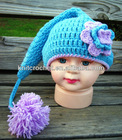 100% Cotton Baby Hand Crocheted Pixie Hat,crochet Tail elf hat, Crochet Flower Hat (KCC-TM00194/3)