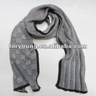 long pattern grey knit plaid scarf