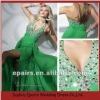 LED162 Custom Made Halter Beaded Bust Sexy High Slit Pageant Evening Dress