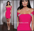 2013 New Arrival Sheath Off the Shoulder Satin Mini Cocktail Dress 2013 Short