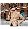 Inclined zipper PU casual jacket black and yellow