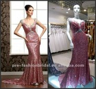DR120901 Sexy V-Neck Cap-Sleeves Floor Length Real Pictures Evening Sequins Beaded Dresses