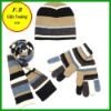 FB011846#Acrylic knitted fleece/scarf /gloves/hats three sports sets hot selling