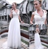 European style white chiffon velvet dress (deep V)