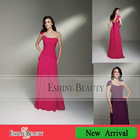 High quality floor-length straight chiffon scalloped with one shoulder dresses evening
