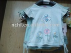Little girls' cotton princess t-shirts with beautiful flowers and butterfly print