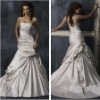 Glamorous Pleat Ivory Lace up Wedding Formal Gowns