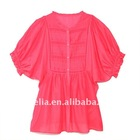 hot sale bat sleeve casual lady shirt blouse woven top