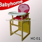 3 in 1 multifunctional European standard New Zealand pine baby wooden high chairs