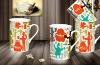 Plain white ceramic coffee mug with decal