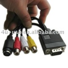 VGA to S-Video AV RCA TV Converter Cable Adapter with 2 Audio cable