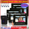 "Wholesales 9"" TFT LCD touch key wired video intercom system 1 to 6"