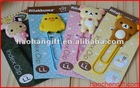 Animal silicone pvc paper bookmark with plastic clip