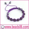 Disco Pave Purple Color Shamballa Bracelet with Crystal Ball BD-012