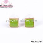 Green resin gold hanging earrings-PYEA900464