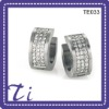 wholesale high quality jewelries titanium crystal bead hoop earrings