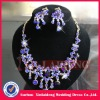 WNE006 In stock 2012 fashion bridal sapphire necklace earring set