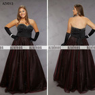 AZV013 Strapless Sweetheart A-line Beaded Organza Plus size evening Gowns