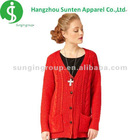 ladies' newest fashion fake turndown collar 3/4 sleeve knitted red blouse